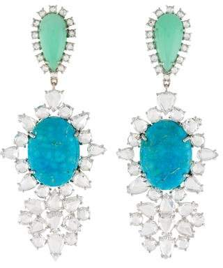 Irene Neuwirth 18K Turquoise, Chrysoprase & Diamond Drop Earrings