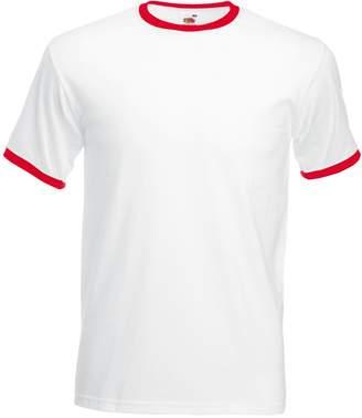 Fruit of the Loom Mens Ringer Short Sleeve T-Shirt (M) (White/Red)