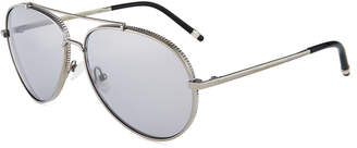 Boucheron Aviator Ridged Metal Sunglasses