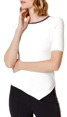 Karen Millen Asymmetric Rib-Knit Tee