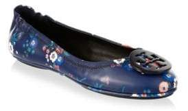 Tory Burch Minnie Travel Floral-Print Leather Ballet Flats