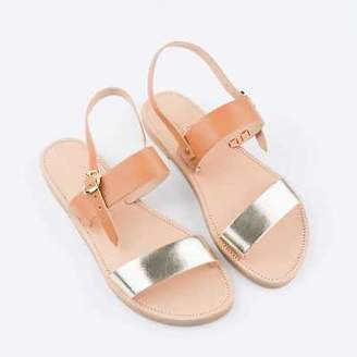 Banjarans Leather Sandals NEW Nymph Sandals: Tan with Light Metallic Gold straps by Banjarans Leather Sand