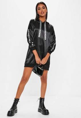 Missguided Black Mono Sports Tape Oversized Hooded Dress