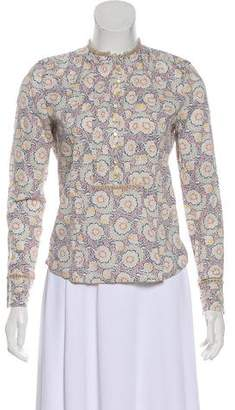 Marc by Marc Jacobs Velvet-Trimmed Printed Top