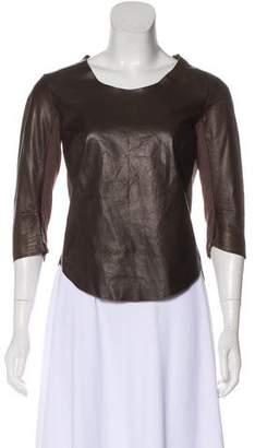 Raquel Allegra Leather Long Sleeve Top
