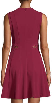 GUESS Fit-and-Flare Embroidered Scuba Crepe Dress