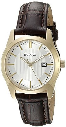 Bulova Women's 97M114 Analog Display Quartz Brown Watch $199 thestylecure.com