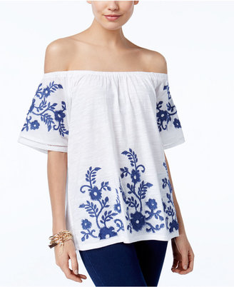 INC International Concepts Embroidered Off-The-Shoulder Top, Only at Macy's $69.50 thestylecure.com