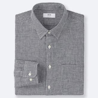 Uniqlo Men's Premium Linen Checked Long-sleeve Shirt
