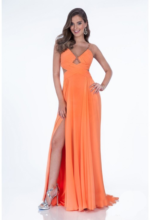 Terani Prom - 1612P0580A V-Neck Ruched with Cutouts Prom Dress