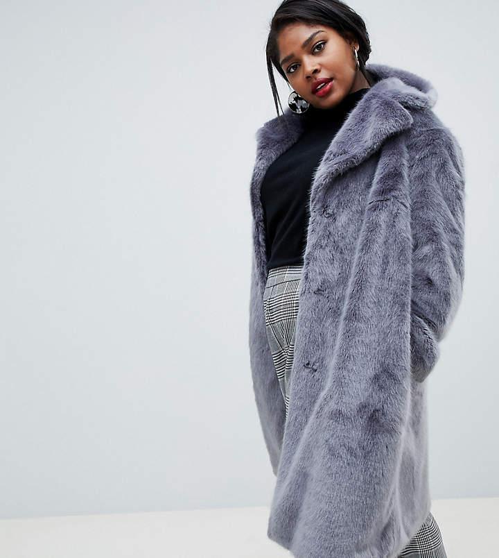 Lost Ink Plus longline faux fur coat