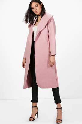 boohoo Ellie Oversized Shawl Collar Belted Coat $30 thestylecure.com