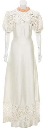 Valentino Beaded Puff Sleeve Gown