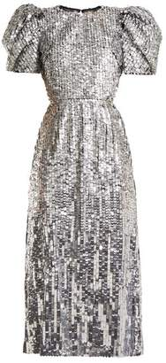 Carolina Herrera Open Back Sequined Tulle Gown - Womens - Silver