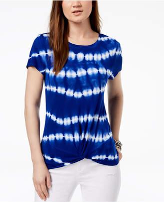 INC International Concepts I.n.c. Tie-Dyed Twist-Hem T-Shirt