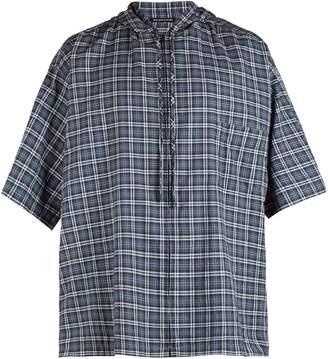 Balenciaga Hooded short-sleeved plaid cotton shirt