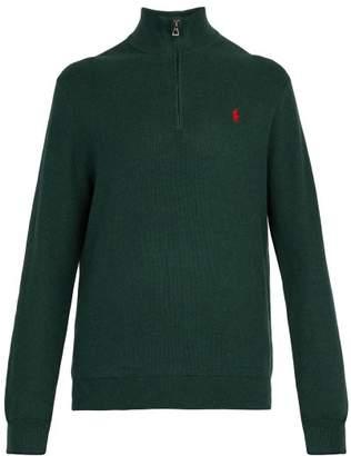 Polo Ralph Lauren Logo Embroidered Half Zip Cotton Pique Sweater - Mens - Green