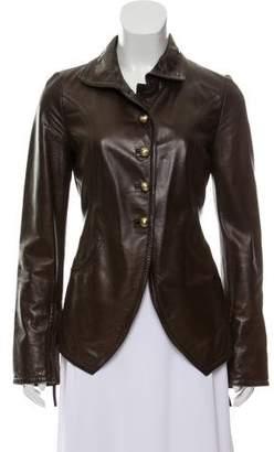 Fendi Silk-Lined Leather Jacket