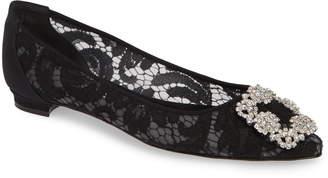 Manolo Blahnik 'Hangisilala' Jeweled Pointy Toe Lace Flat