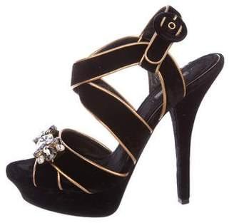 Dolce & Gabbana Velvet Platform Sandals