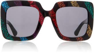 Gucci Square-Frame Glittered Acetate Sunglasses