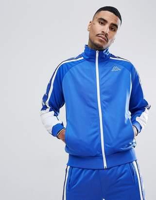 Kappa zip through track jacket with large logo taping in blue