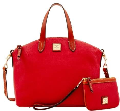 Dooney & Bourke Pebble Grain Satchel & Medium Wristlet - RED - STYLE