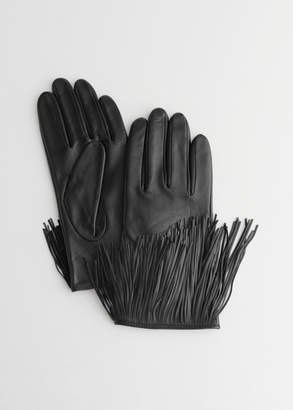 And other stories Leather Fringe Gloves