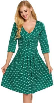 Burlady Women's Polka Dot Deep V Neck Half Sleeve Casual Pleated A Line Summer Dress