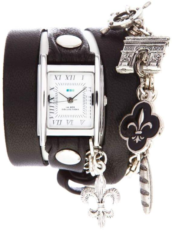 La Mer Riviera Silvertone Chain and Charms Black Leather Wrap-Design Watch
