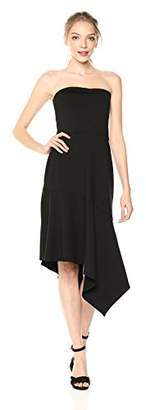 Susana Monaco Women's Cerise Strapless Asymmetrical Ruffle Hem Midi Dress