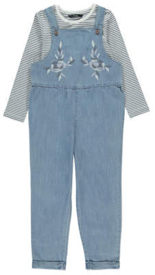 George Light Wash Dungarees and Striped Top Outfit