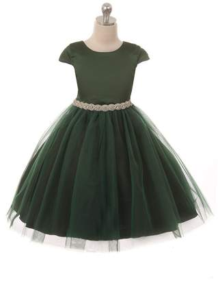 Kids Dream Sleeve Satin Dress W/ Tulle Green