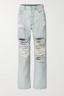 Unravel Project Distressed Boyfriend Jeans - Light denim