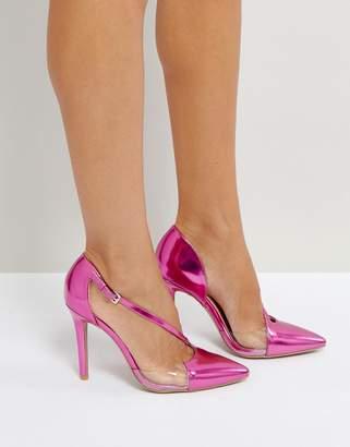 Qupid Asymmetric Pointed High Heels