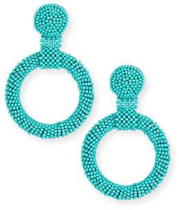 Kenneth Jay Lane Gypsy Hoop Drop Earrings, Turquoise