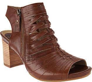 Earth Earthies Leather Block Heel Peep-toe Booties -Siena
