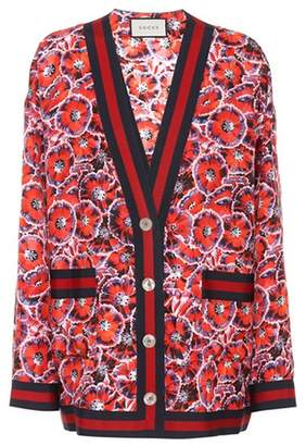 Gucci Poppy Garden printed silk cardigan
