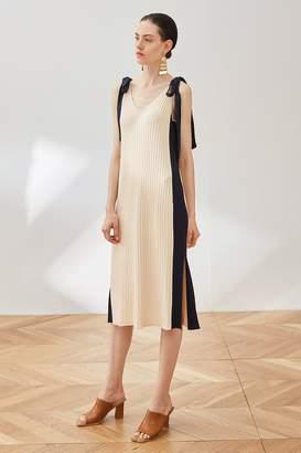 Rll / Studio Ribbed Knit Side Slit Bow Tie Dress