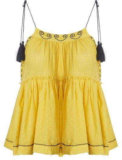 TopshopTopshop Yellow hanki hem camisole top