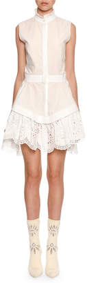 Alexander McQueen Sleeveless Lace-Trim Poplin Shirtdress