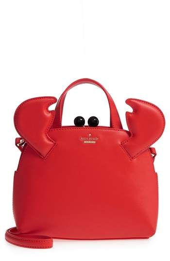 Kate Spade Shore Thing - Small Crab Lottie Leather Satchel - RED - STYLE
