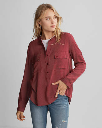 Express Dotted Henley Popover Shirt