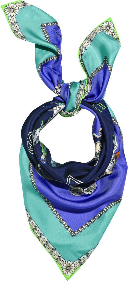 Versace Cowboy printed silk scarf