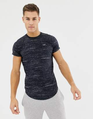 Hollister curved hem icon logo t-shirt in charcoal marl