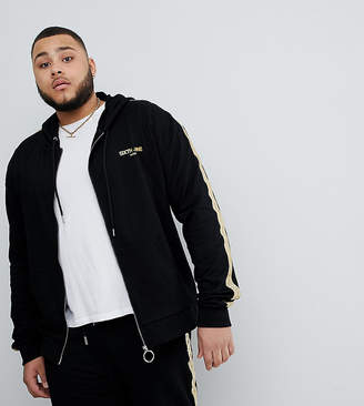 Asos Sixth June Track Jacket In Black With Gold Side Stripe exclusive to