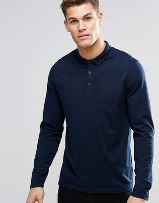 Asos DESIGN Long Sleeve Jersey Polo In Navy