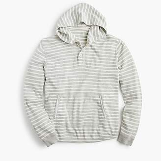 J.Crew Beach thermal henley hoodie in heather grey stripe