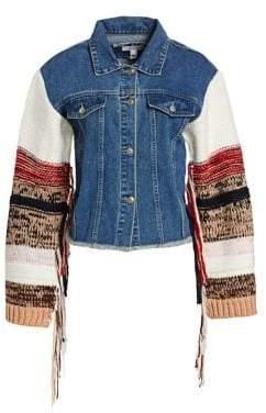 Scripted Fringed Knit-Sleeve Denim Jacket