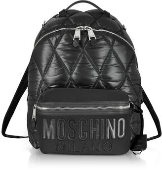 Moschino Black Quilted Nylon and Canvas Backpack